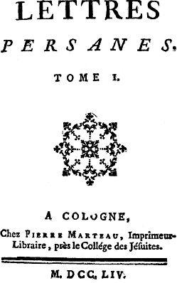ou la satire distanciée avec les Lettres persanes (1721) de Montesquieu et les essais comme De l'esprit des lois (1748) du même, les Lettres anglaises (1734) ou le Traité sur la tolérance (1763) de Voltaire, le Contrat social (1762) ou Émile ou De l'éducation (1762) de Rousseau, le Supplément au voyage de Bougainville de Diderot ou l'Histoire des deux Indes de l'abbé Guillaume-Thomas Raynal.