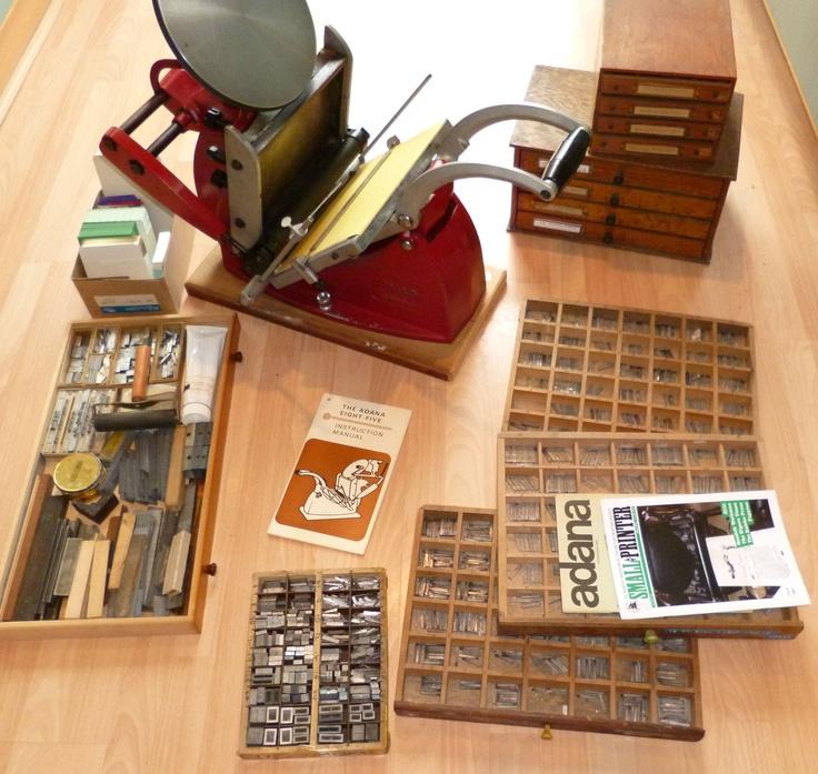 ADANA 8 X 5 EIGHT FIVE LETTERPRESS PRINTING MACHINE AND CABINETS | eBay
