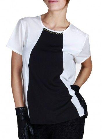 Beyaz Siyah Şeritli Kısa Kol Bluz