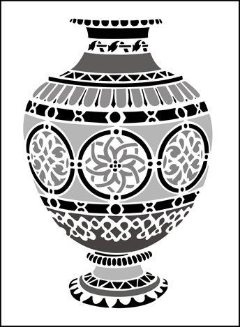 Нажмите, чтобы увидеть фактический GR109 - марокканский Ваза дизайн трафарета.