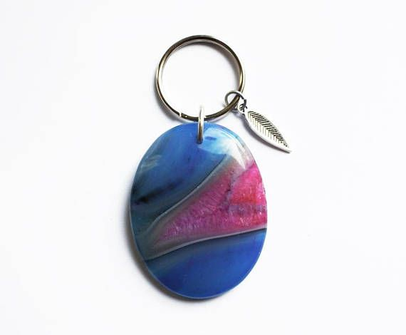Blue & Pink Agate Keychain - Feather Charm - Boho Accessories - Bohemian Style - Gift For Her