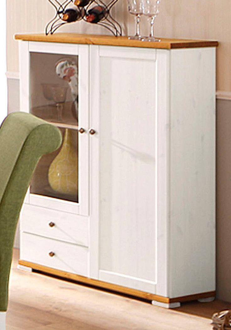 In folgenden Farben erhältlich:  Korpus/Front: gelaugt/geölt, Korpus/Front: kolonialfarben, Korpus/Front: weiß/honigfarben,  Details:  1 Tür mit Glaseinsatz, 1 verstellbarer Holzboden, Fachinnenmaße (B/T/H): ca. 38/31/85 cm, 1 Holztür, 2 verstellbare Holzböden, Fachinnenmaße (B/T/H): ca. 38/31/117 cm, Türen mit Glaseinsatz, 2 Schubladen, Schubladeninnenmaße (B/T/H): ca. 35/29/12 cm, Im Landhaus...