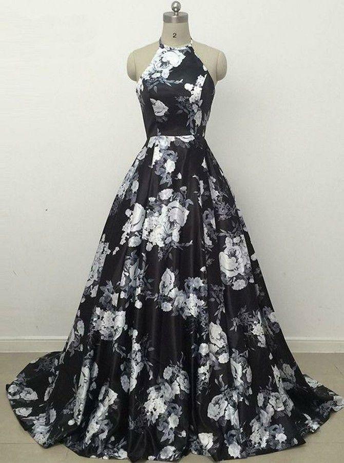 A-Line Halter Black Printed atin Prom Dress #prom #printeddresses #dresstells