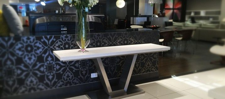 Venus Caesarstone Console in London Grey. To see more of our designer furniture, visit our Melbourne showrooms today.