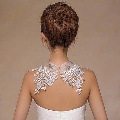 Coprispalle da sposa collari senza maniche in pizzo avorio nozze di cristallo / perle