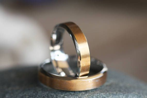 Wedding band/Two tone Wedding bands /White Gold ring /Yellow