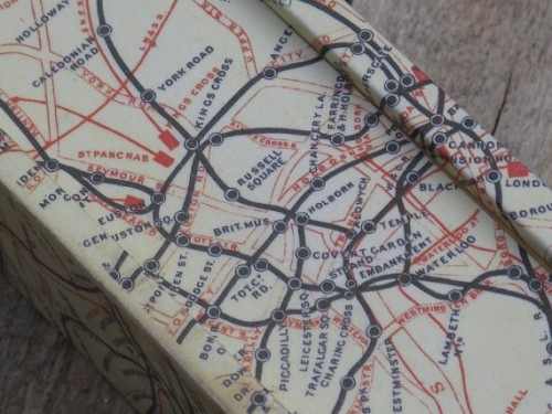 Vintage dominoes box with London underground map from 1950