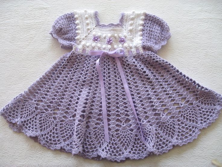 Purple Crocheted Baby Popcorn Dress, in a pineapple pattern and a white bib top.