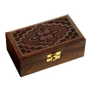 Coffret à bijoux sculpté à la main - Boite en bois et laiton: ShalinCraft: Amazon.fr: Bijoux