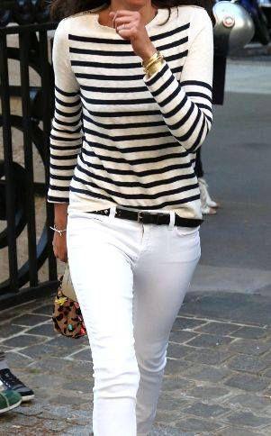 Pour le printemps on ressort #marinière & #jean blanc !