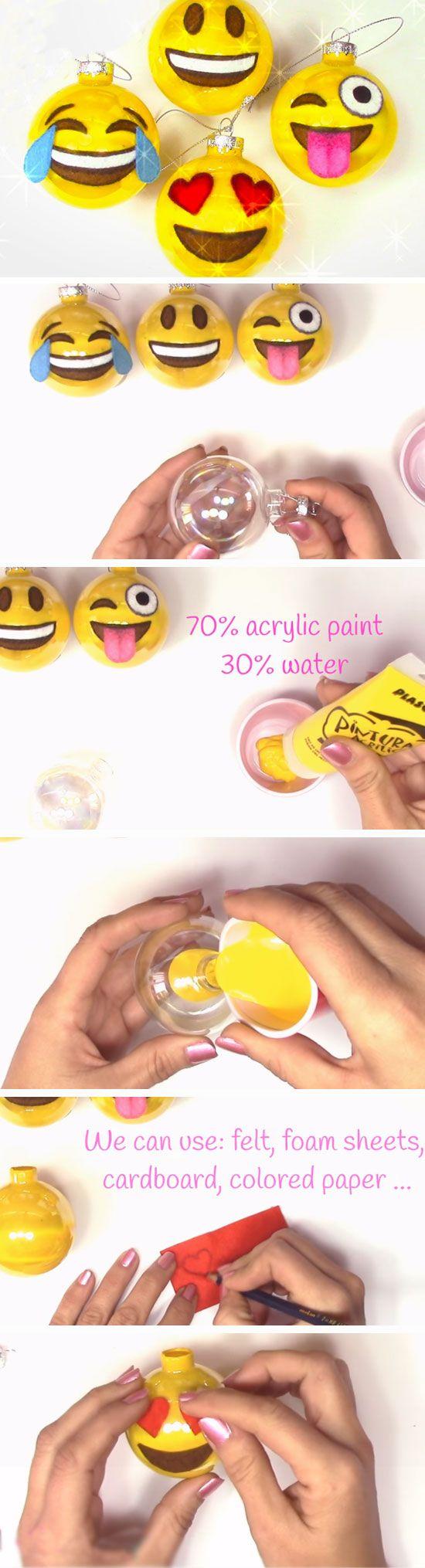 Emoji Baubles | 20+ DIY Christmas Crafts for Kids to Make