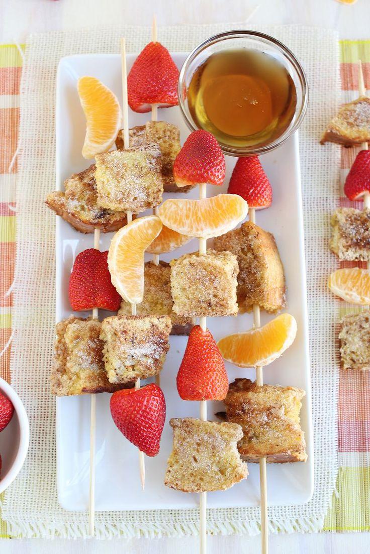 Brochettes fruits/pain perdu