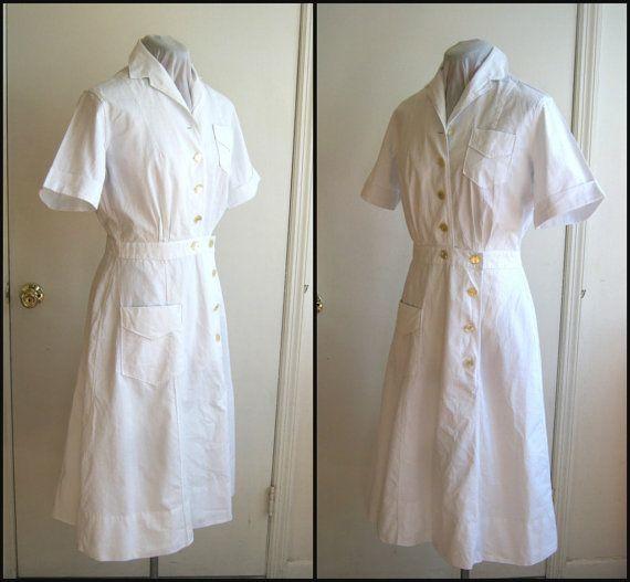Vestido de la década de 1940 los e.e.u.u. militares de la enfermera, material blanco puro uniforme de enfermera, WWII camisero manga corta workdress ejército marina de guerra