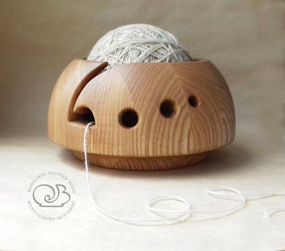 Carved Wood Yarn Bowl Gift For Knitter Wooden Yarn Ball Holder Etsy In 2020 Yarn Bowl Knitting Bowl Yarn Organization