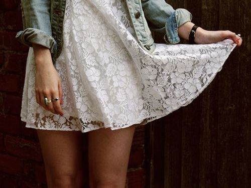 I love denim and old lace together...