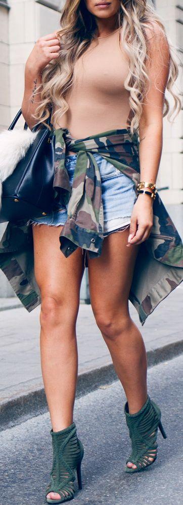 Shoes – Shultz / Jacket – Vintage / Shorts – Levis / Top – Misguided / Bag – Prada