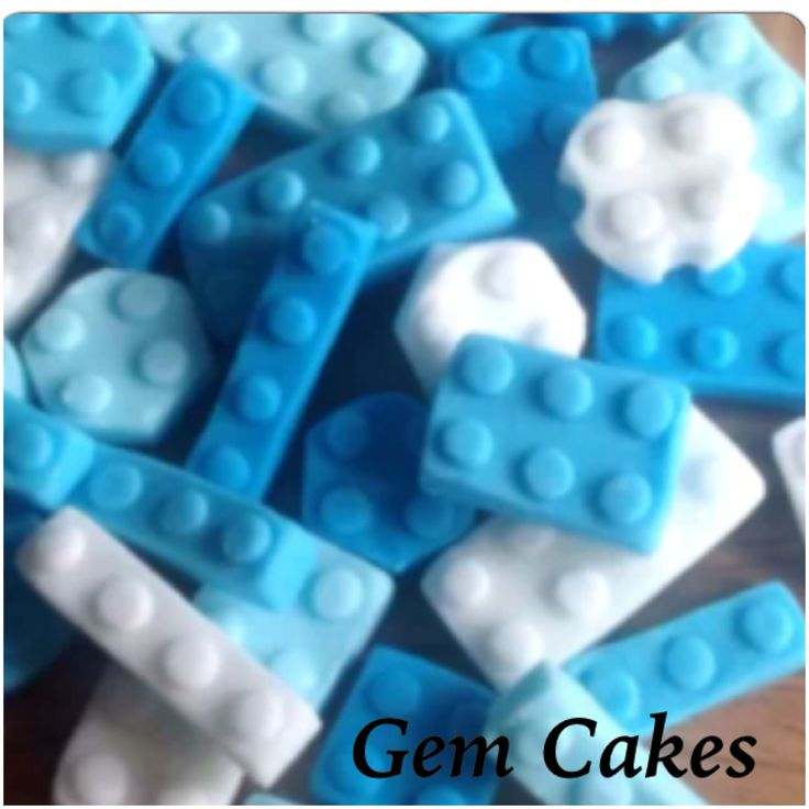 Edible baby Shower christening Blue lego building bricks  cupcake toppers decorations for Boys