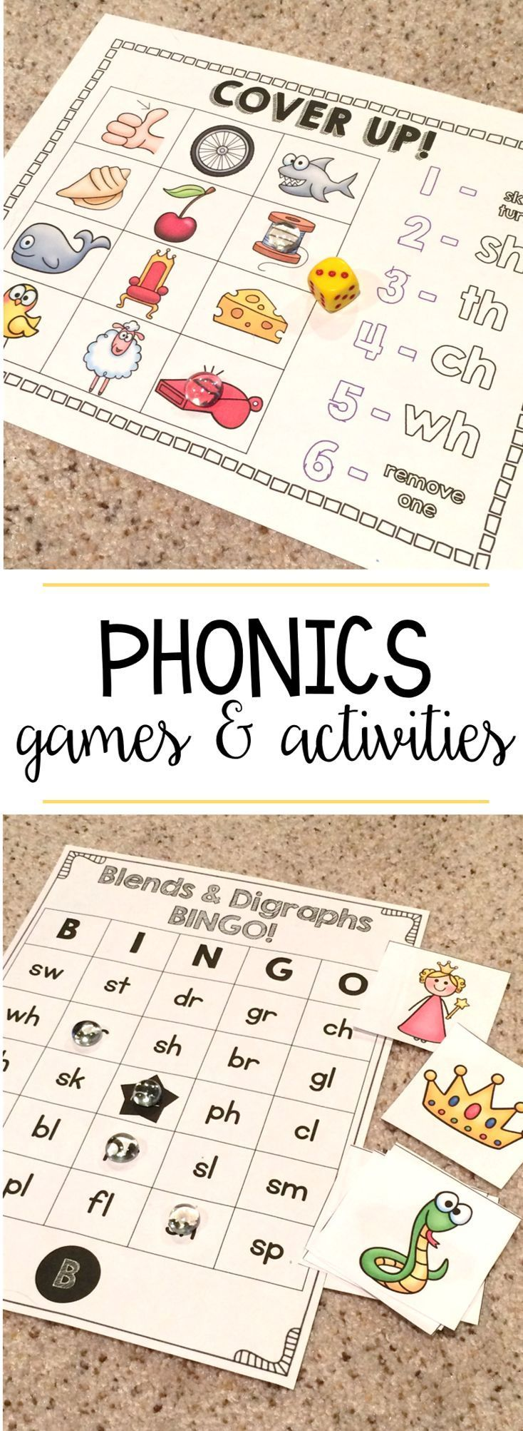 Phonics games and activities for teaching long vowels, digraphs, and consonant blends!