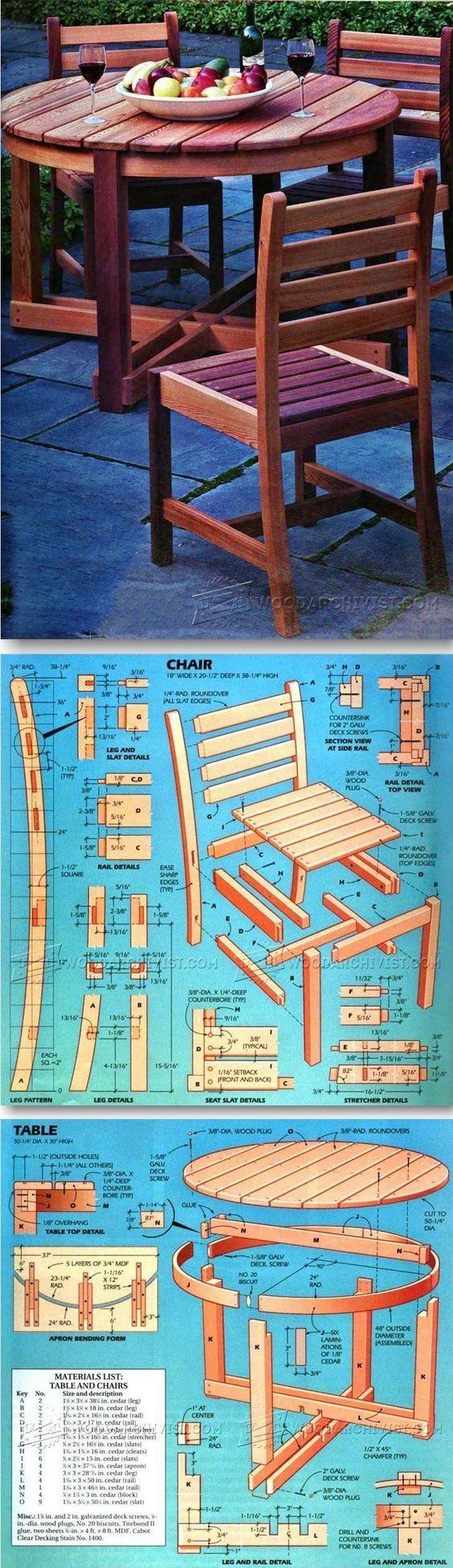 Открытый стол и стул планы - Уличная мебель Планы & Проекты   WoodArchivist.com: