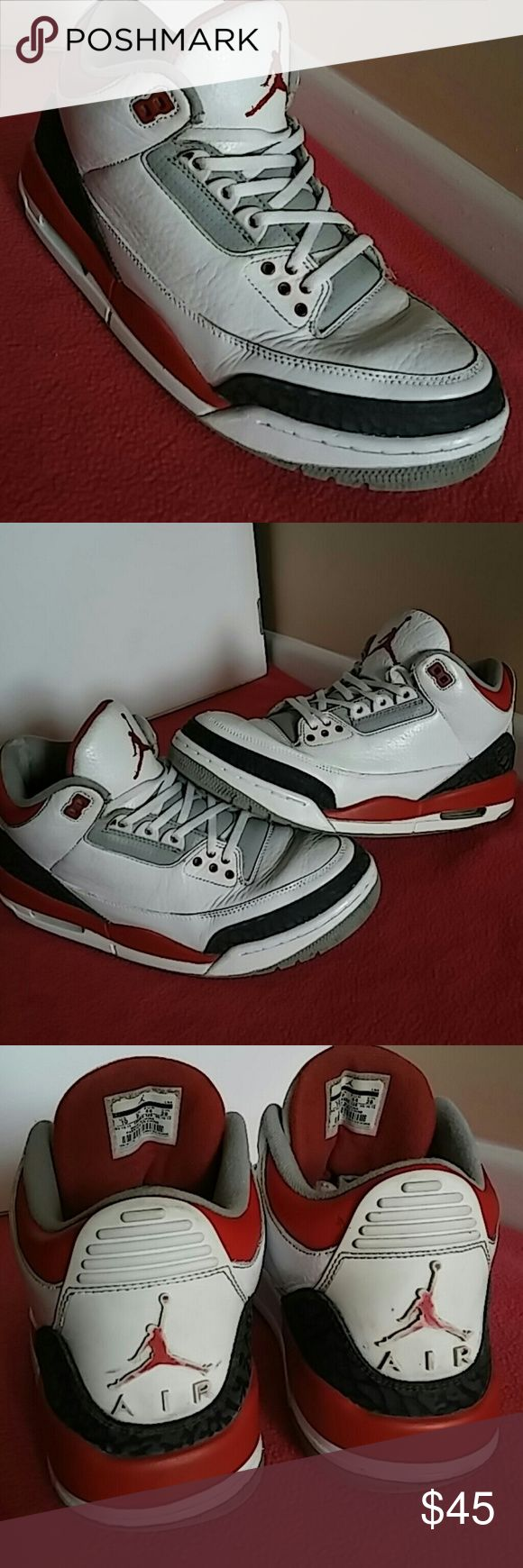 Nike Air Jordan 3 Retro Fire Red Cement Grey Black Shoes shows good amount of use. Upper leather in excellent shape without tear or blemishes. Scuffs on shoes have been given a facelift by a professional and shoes look great. Undersoles shoes shoe drag. SHOES is rated 6.5/10. Shoes # is 136064 120. Nike Shoes Sneakers