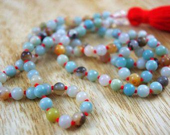 Amazonita anudado cuentas Mala / / 6mm / / borla collar de Mala / / Hand Knotted 108 grano Mala / / Rosario / / Yoga joyas regalo