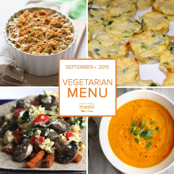 Sweet potatoes abound in their myriad of uses for this Vegetarian September Menu. Freezer Cooking from Once a Month Meals