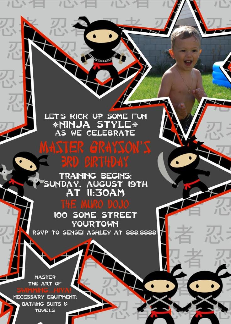 Ninja Birthday Party Invitation. $15.00, via Etsy.