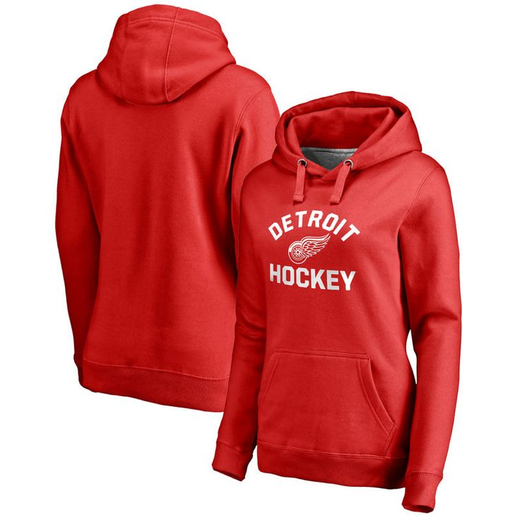 Detroit Red Wings Fanatics Branded Women's Overtime Plus-Size Pullover Hoodie - Red