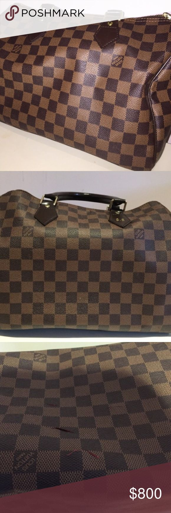 💯Authentic Louis Vuitton Speedy 35 Checkered Bag GUARANTEED AUTHENTIC. I have the receipt that contains proof of purchase. Comes with a dust bag.This item has been preowned and contains rips on the bottom of the bag. See pictures above for more detail. Has Golden color metallic pieces -Rounded handles and trimmings in natural cowhide leather -Lockable double-zipped closure -Interior pocket -D-ring for keys and accessories -Soft textile lining Louis Vuitton Bags Hobos