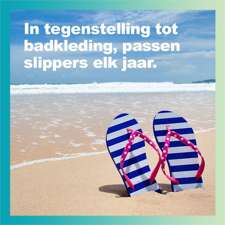 In tegenstelling tot badkleding, passen slippers elk jaar #WeightWatchers