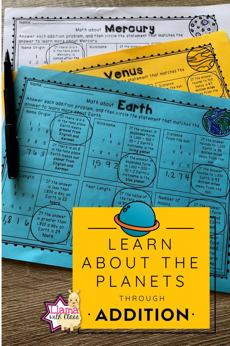 Planet Information through Addition Practice Worksheets | ***All ...
