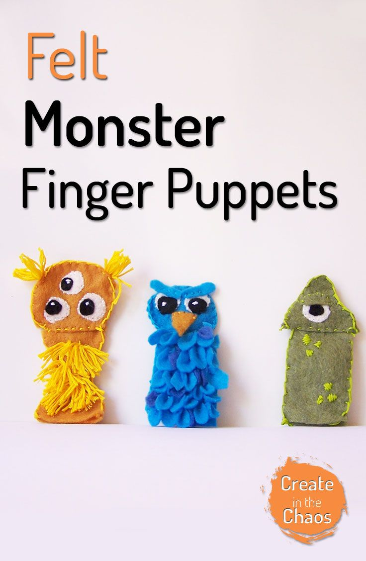So cute and easy to make! Felt monster finger puppets with printable pattern www.createinthechaos.com
