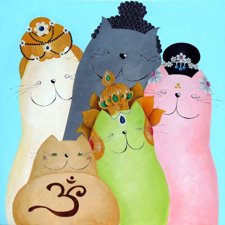 Buddhist Cats ♥ Catart by Sonja Kemp