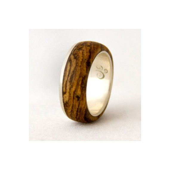 silver ring with wood mens wedding band with by aboutjewelry 23000