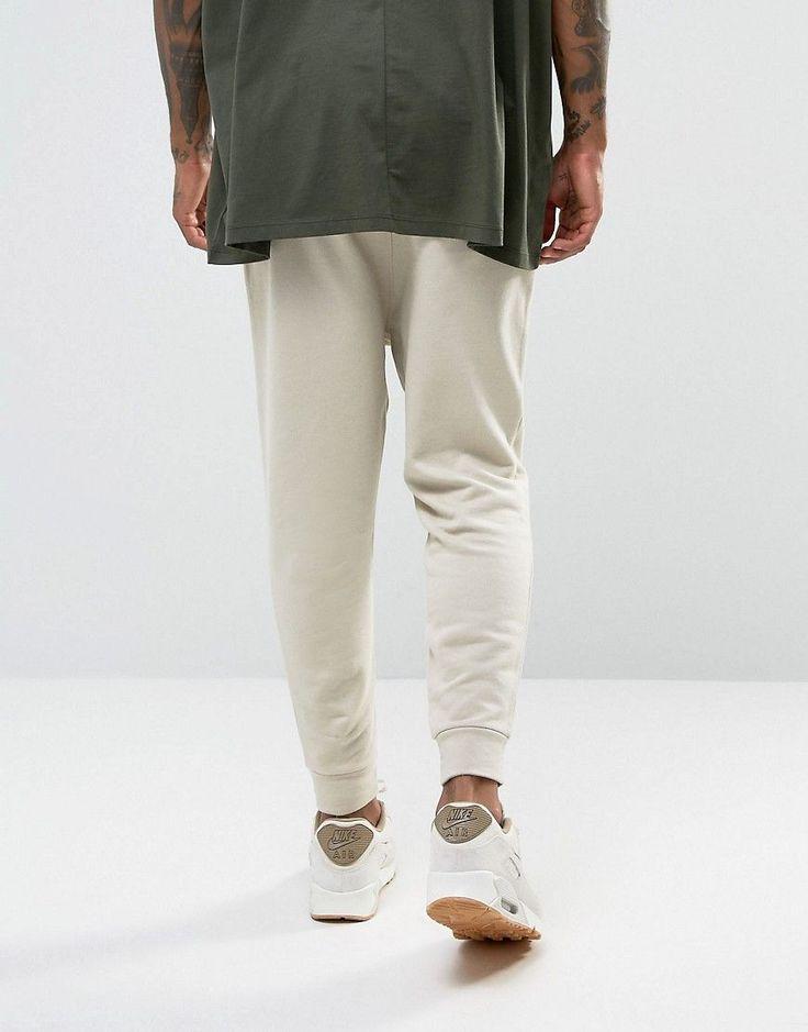 ASOS Drop Crotch Joggers In Beige - Beige