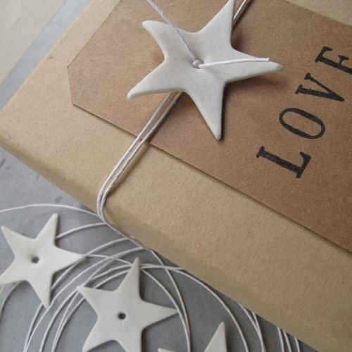 Porcelain Star and white paper string perfect detail when wrapping presents