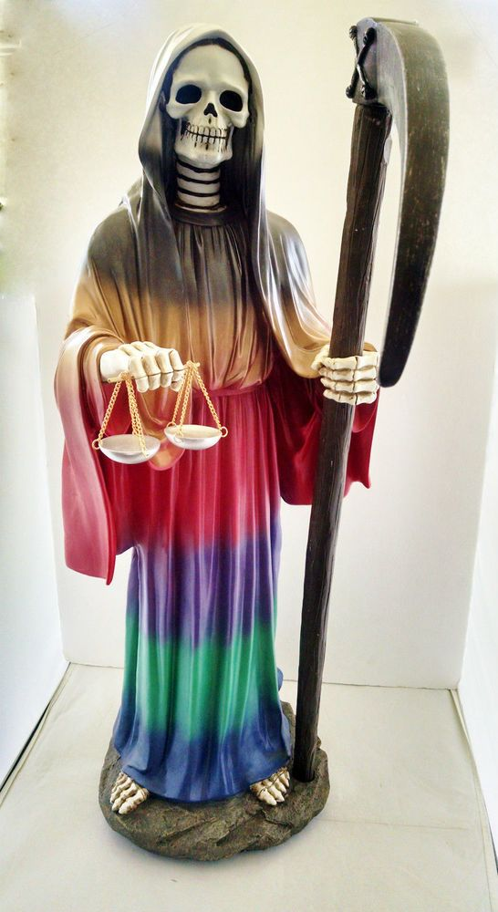 28 Inch Statue of La Santa Muerte Holy Death Grim Reaper Siete Potencias 7 Color