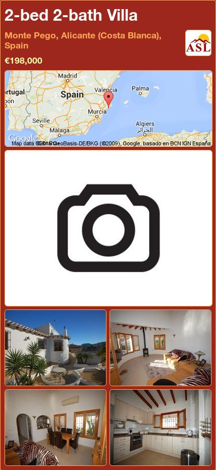 2-bed 2-bath Villa in Monte Pego, Alicante (Costa Blanca), Spain ►€198,000 #PropertyForSaleInSpain