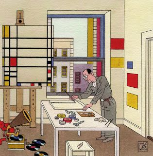 """Blog Joost Swarte Joost Swarte draws picture book """"And Then Style"""" celebration for 100 years of De Stijl"""