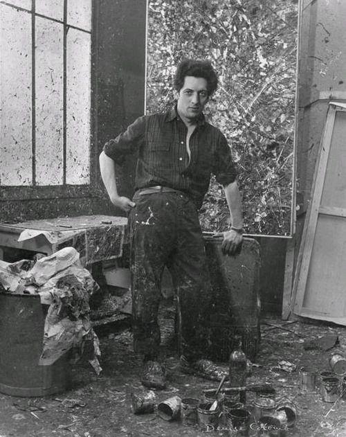 Jean-Paul Riopelle in his studio
