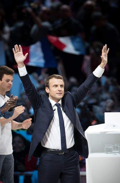 Emmanuel Macron, candidat d'En Marche! à l'élection présidentielle 2017, lors de son grand meeting à l'AccorHotels