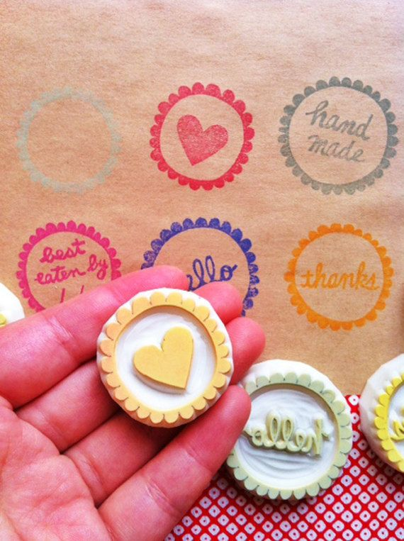 Cooking label stamp set, hand carved rubber stamp by Talktothesun