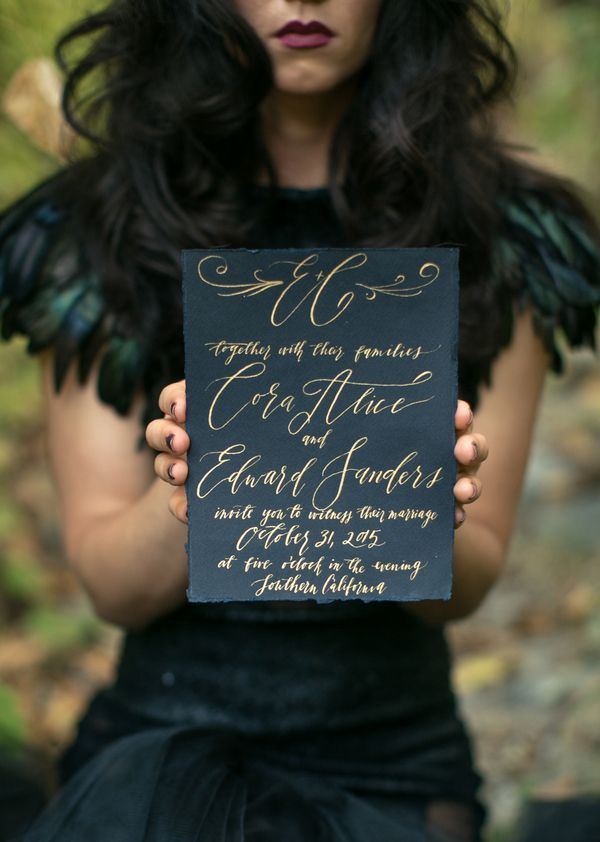 Darkly elegant wedding invitation with gold calligraphy | Photo by Sweet Blooms Photo