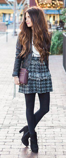 #winter #fashion /  Black Jacket / White Top / Pattern Black Skirt / Black Titghts / Black Booties