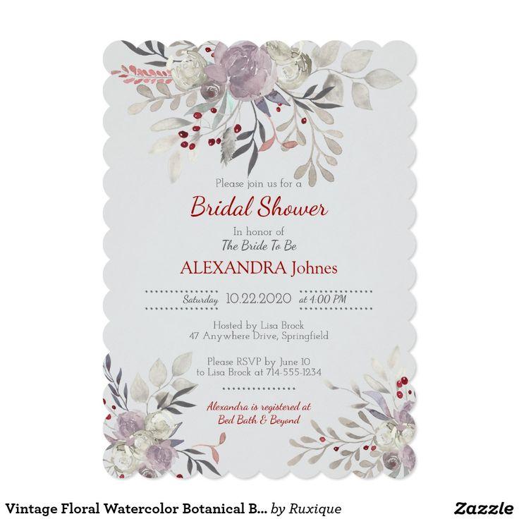Vintage Floral Watercolor Botanical Bridal Shower Invitation Delicate vintage watercolor flowers, romantic garden bridal shower invitation.