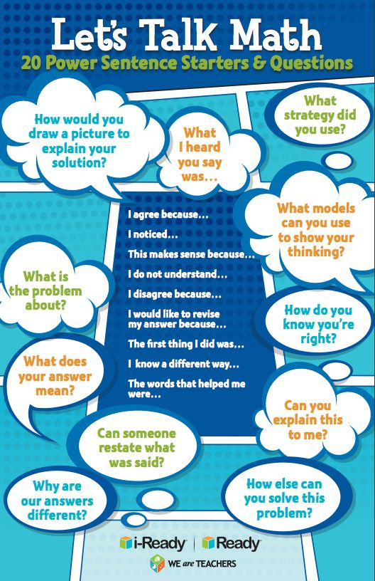 Let's Talk Math: 20 Power Sentence Starters & Questions #weareteachers