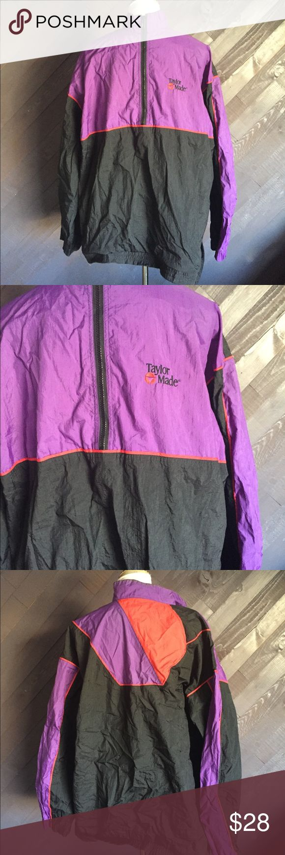Vintage Taylor Made Pull Over Windbreaker Vintage Taylor made pull over zip up windbreaker in good condition has some discoloration on the inside label. Measures 30 Long & 27 from arm pit to arm pit taylor made Jackets & Coats Windbreakers #Clubs.....TaylorMadeofCourse!
