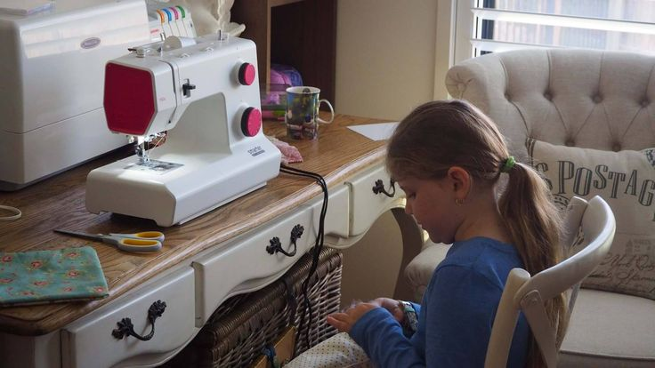 Zianna concentrating on making pillow sachets for lavender or for ring bearers. This was her first project using her first ever sewing machine.  A big thank you to Spotlight for a very well priced Pfaff with all the stitches a beginner needs. I think Zianna did an Amazing job. 5 made in one morning without help. I will soon be redundant.