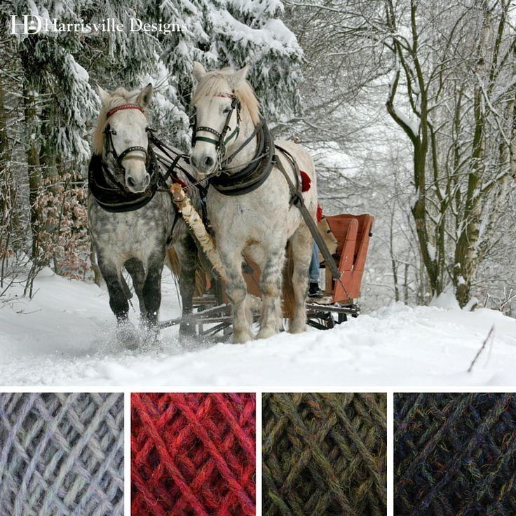 'Sleigh Ride' color palette featuring our flyWHEEL yarn in Driftwood, Barn Door, Spoonwood, and Penstock.