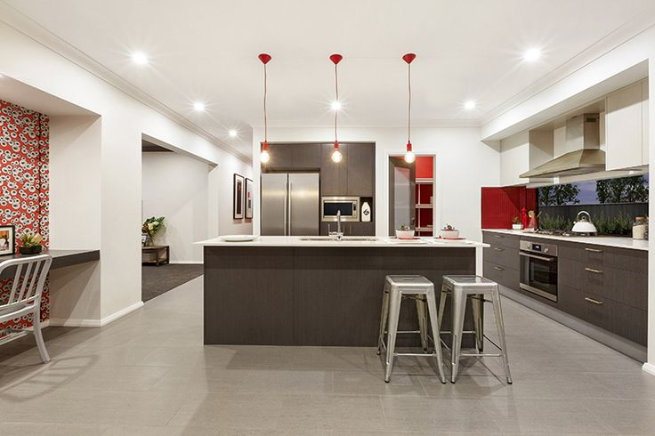 Give your kitchen some spark by adding a touch of passionate red. #MojoHomes, #kitchendesigns, #HomeworldGledswoodHills